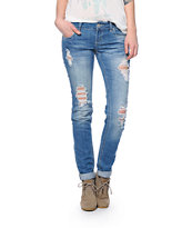 Almost Famous Medium Wash Destroyed Skinny Jeans