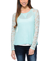Almost Famous Mint Lace Raglan Top