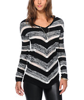 Almost Famous Mitered Black V-Neck Sweater