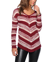 Almost Famous Mitered Red V-Neck Sweater