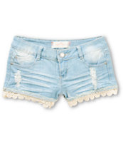Almost Famous Olivia Lace Hem Denim Shorts