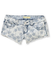 Almost Famous Palm Tree Light Washed Blue Denim Shorts
