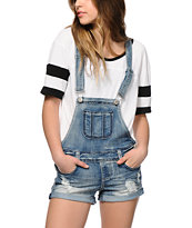 Almost Famous Potassium Wash Overall Shorts