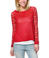 Almost Famous Red Lace Raglan Top