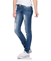 Almost Famous Rylee Crochet Pocket Medium Wash Skinny Jeans
