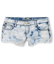 Almost Famous Stella Bleach Washed Denim Shorts