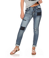 Almost Famous Taylor Patch Medium Wash Skinny Jeans