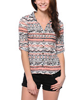 Almost Famous Tribal Coral & Black Burnout Top