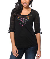 Almost Famous Tribal Studded Black Chiffon Top