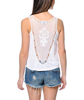 Almost Famous White Crochet Back Tank Top