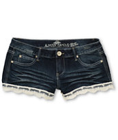 Almost Famous Zoe Lace Hem Denim Shorts