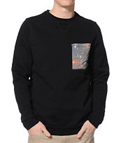Altamont Nebula Black Crew Neck Pocket Sweatshirt