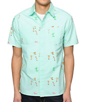 Altamont Skatebirds Print Mint Button Up Shirt