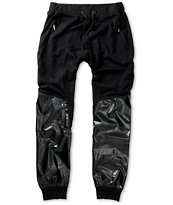 American Stitch All Black Polyurethane Leg Jogger Sweatpants