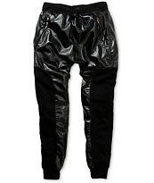 American Stitch Faux Leather & Fleece Jogger Pants