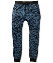 American Stitch Harem Blue Paisley Jogger Sweat Pants