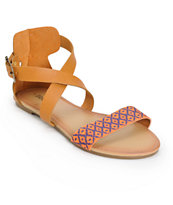 Antic Orange & Blue Woven Strap Sandals
