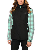 Aperture Cannon Black & Mint Buffalo Plaid 10K Snowboard Jacket
