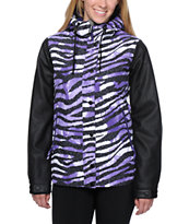 Aperture Girl Fakie Zebra Purple 10K Snowboard Jacket 2014