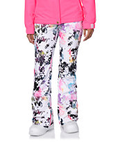 Aperture Girl Peak 2 Creek Floral White 10K Snowboard Pants 2014