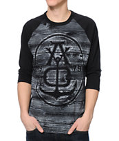 Asphalt Wood Grain Anchor Black Baseball Tee Shirt
