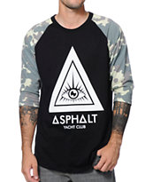 Asphalt Yacht Club Camo Triangle Black Raglan Baseball Tee Shirt