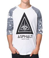 Asphalt Yacht Club Camo Triangle Grey & White Baseball Tee Shirt