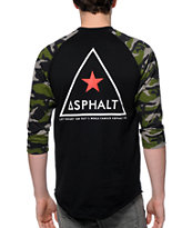Asphalt Yacht Club Delta Force Camo Baseball Tee Shirt