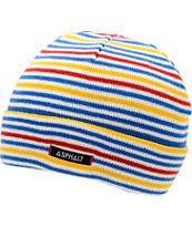 Asphalt Yacht Club Stripe Blue, Red, & Yellow Fold Beanie