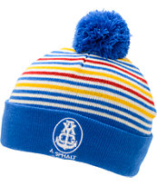 Asphalt Yacht Club Stripe Pom Blue, Red, & Yellow Fold Beanie
