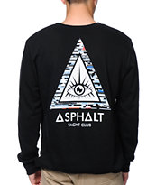 Asphalt Yacht Club Triangle Eye Black Crew Neck Sweatshirt
