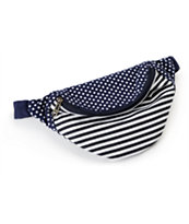 Barganza Navy & White Polka Dot Stripe Fanny Pack