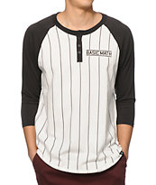 Basic Math Pinstripe Henley Baseball T-Shirt