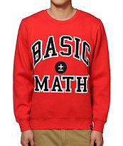 Basic Math Red Crew Neck Sweatshirt