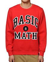 Basic Math Red Crew Neck Sweatshirt