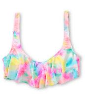 Bikini Lab Multicolor Tie Dye Flounce Bikini Top