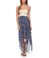 Billabong Blissful Dayz White & Blue Stripe Strapless Dress
