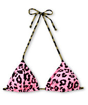 Billabong Cheetah Neon Pink Triangle Bikini Top