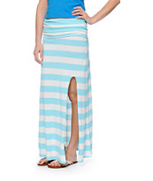 Billabong Come Across Mint & White Stripe Maxi Skirt