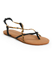 Billabong Crossing Over Black & Leopard Print Sandals