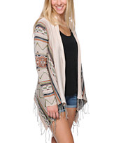 Billabong Dream Chaser Tribal Stripe Fringe Wrap Sweater