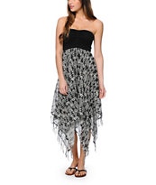 Billabong Enchanted Dayz Black Geo Print Strapless Dress