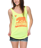 Billabong Famous Bear Neon Yellow Tank Top