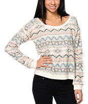 Billabong Flower Spirit Milena White Crew Neck Sweatshirt