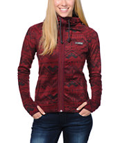 Billabong Girls Breathing Burgundy Tribal Tech Fleece Jacket