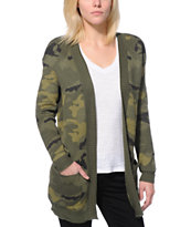 Billabong Girls Camp Dreamin Camo Print Oversized Wrap Sweater