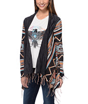 Billabong Girls Dream Chaser Black Stripe Fringe Wrap Sweater