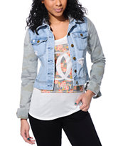 Billabong Girls Maddie Joy Camo Sleeve Denim Jacket