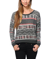 Billabong Girls Melena Printed Black Crew Neck Sweatshirt
