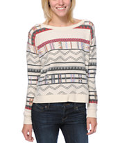 Billabong Girls Melena Printed White Crew Neck Sweatshirt